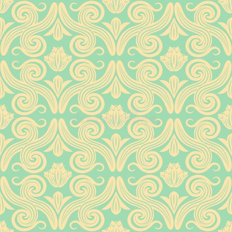 картина штофа безшовная Элегантная винтажная предпосылка текстуры для обоев, упаковочная бумага и страница заполняют иллюстрация вектора