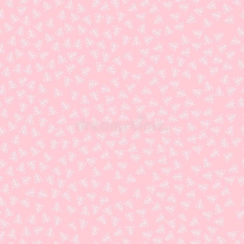 картина штофа флористическая безшовная королевские обои Белые цветки на розовой предпосылке иллюстрация вектора