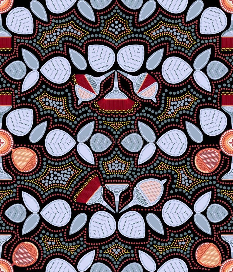 Картина эвкалипта безшовная Искусство пункта Австралийское аборигенное искусство Ограниченная цветовая палитра иллюстрация вектора