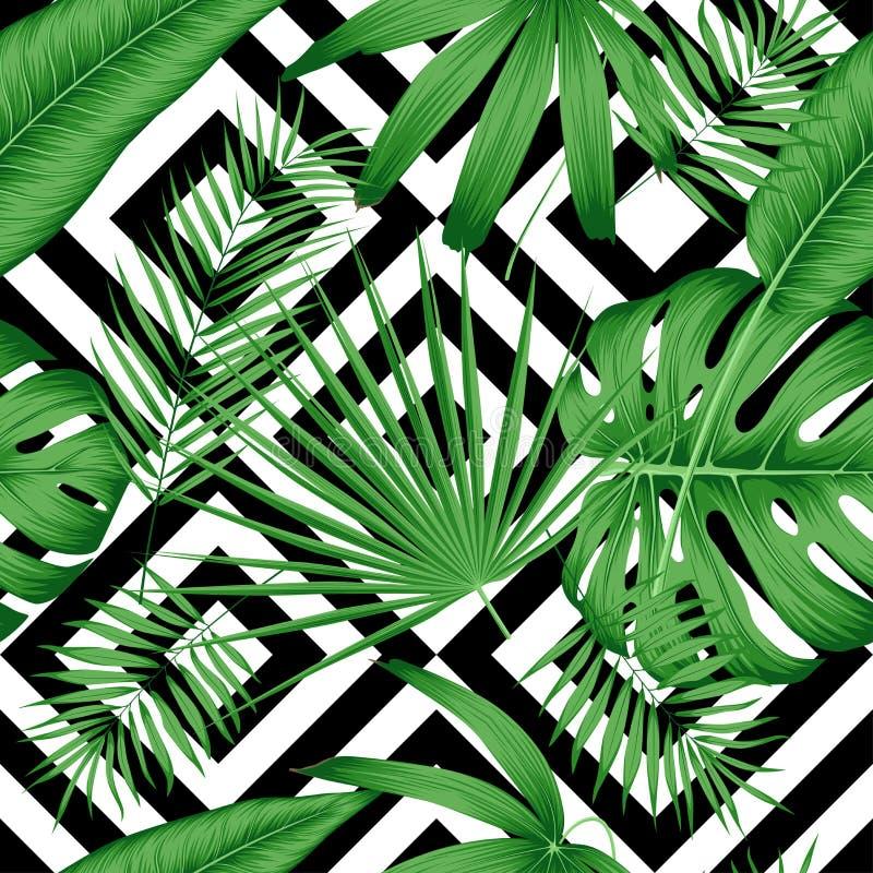 Картина экзотического вектора безшовная с тропическими листьями на геометрической предпосылке бесплатная иллюстрация