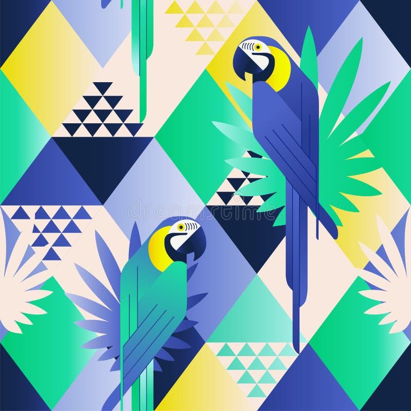 Картина экзотического пляжа ультрамодная безшовная, заплатка проиллюстрировала флористические тропические листья Попугаи сини джу иллюстрация вектора
