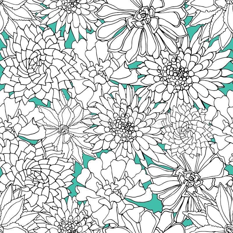 Картина элегантного вектора черно-белая суккулентная безшовная на голубом backgound в ботаническом стиле бесплатная иллюстрация