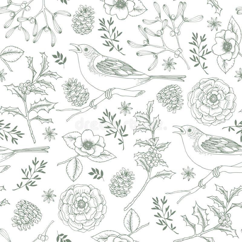 Картина элегантного рождества руки вычерченного безшовная с птицами, ягодами падуба, омелой, розами и конусами сосны Год сбора ви иллюстрация штока