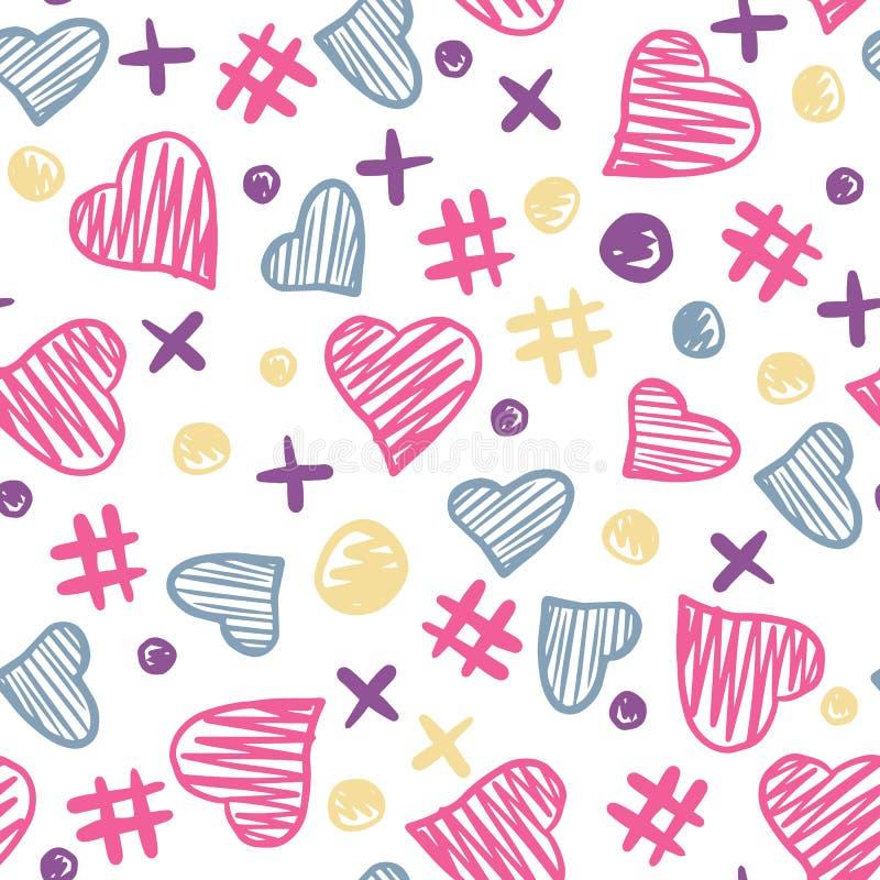 Картина элементов сердец безшовная 14-ое февраля Фон дня Валентайн иллюстрация вектора