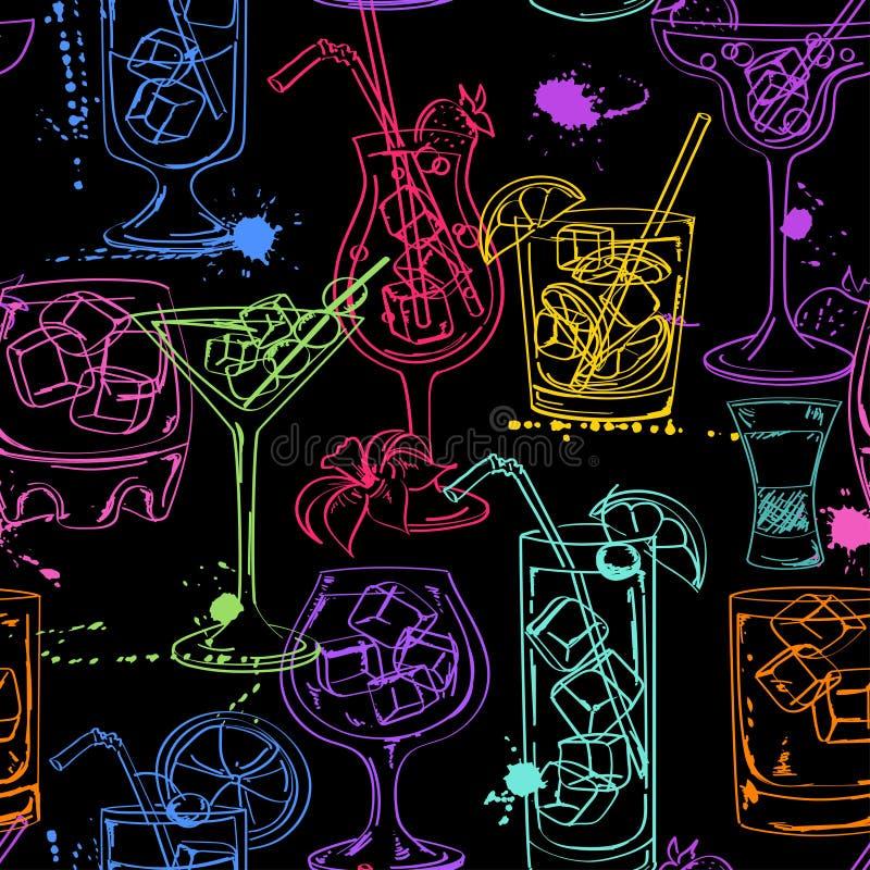Картина эскиза безшовная коктеилей иллюстрация вектора