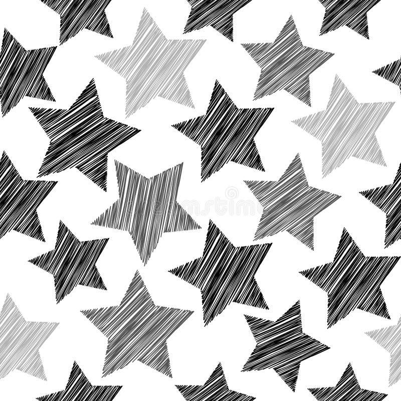 Картина эскиза безшовная с звездами Черные серые звезды на белой предпосылке Геометрическая абстрактная предпосылка для места, бл иллюстрация вектора