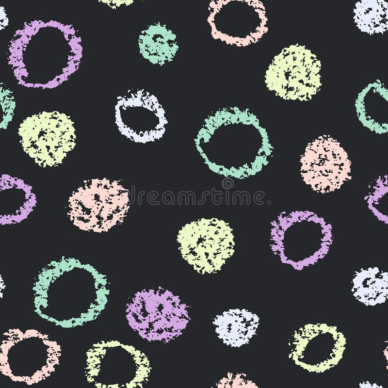 Картина эскиза вектора кругов нарисованного рукой Безшовная рука предпосылки нарисованная crayon воска Наивный фон doodle иллюстрация вектора