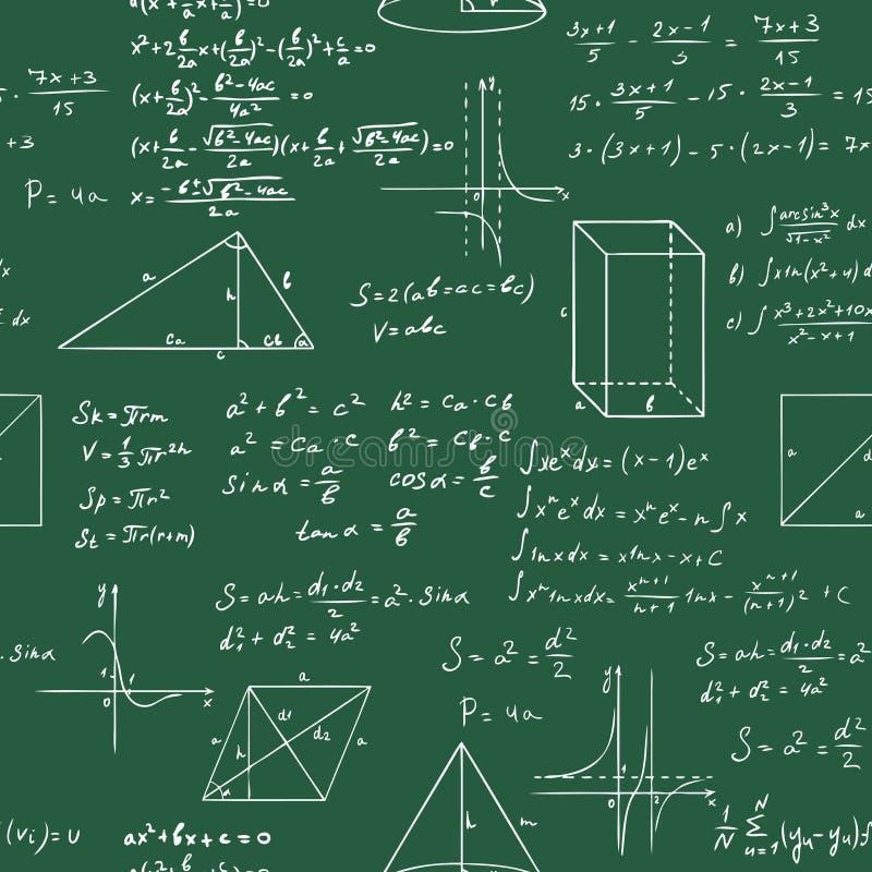 Картина эскиза вектора формул математики безшовная бесплатная иллюстрация