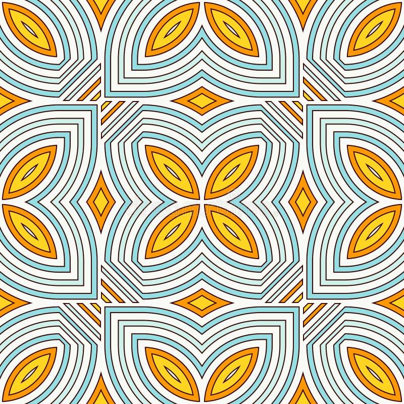 Картина этнического стиля безшовная с флористическим мотивом Предпосылка голубых и желтых цветов абстрактная орнамент соплеменный иллюстрация штока