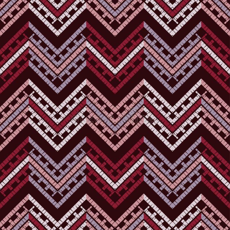 Картина этнического boho безшовная Вышивка на ткани Текстура заплатки Соткать Традиционный орнамент Племенная картина Фольклорный иллюстрация вектора