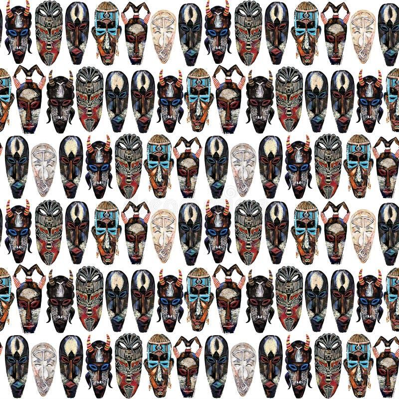 Картина этнической маски безшовная африканская племенная предпосылка тотема иллюстрация штока