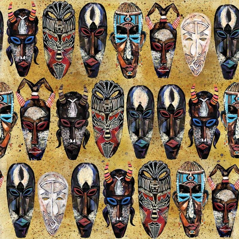 Картина этнической маски безшовная африканская племенная предпосылка тотема стоковая фотография rf