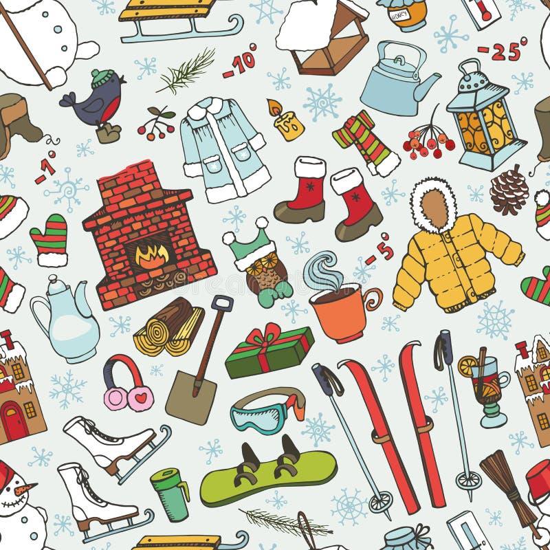 Картина элементов doodle Winteer безшовная покрашено иллюстрация штока