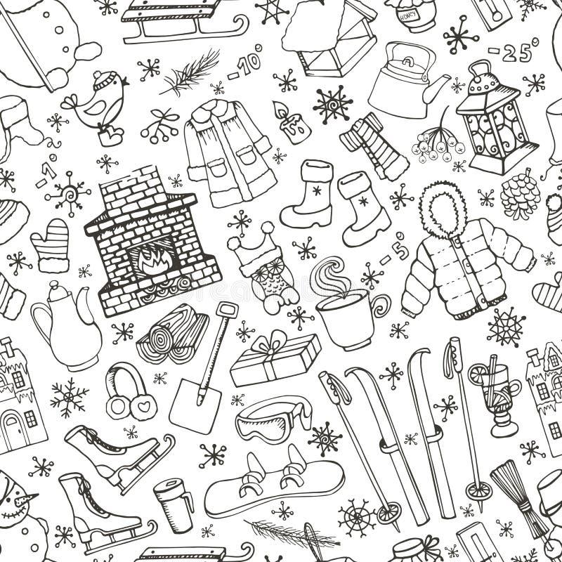 Картина элементов doodle Winteer безшовная черный иллюстрация штока