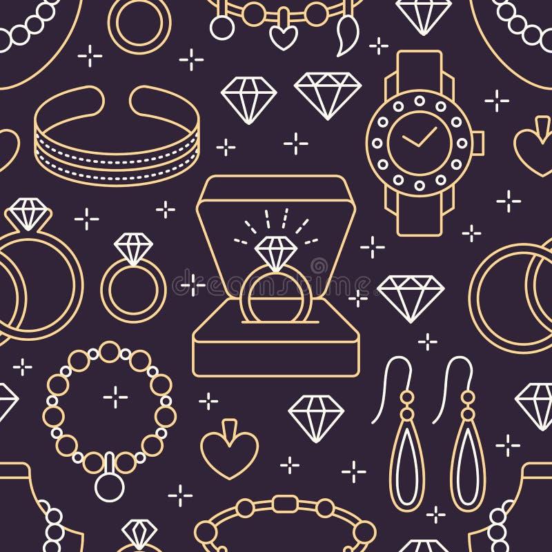 Картина ювелирных изделий безшовная, линия иллюстрация Vector значки аксессуаров драгоценностей - обручальных колец золота, диама иллюстрация вектора