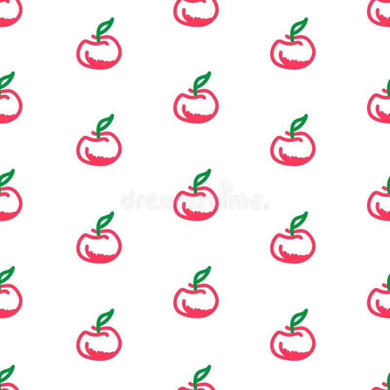 Картина Яблока безшовная на белой предпосылке стоковое изображение rf