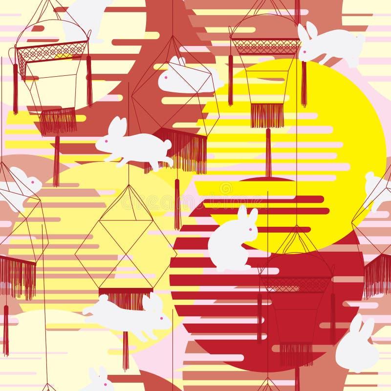 Картина Японии фарфора фонарика кролика фестиваля луны безшовная иллюстрация вектора