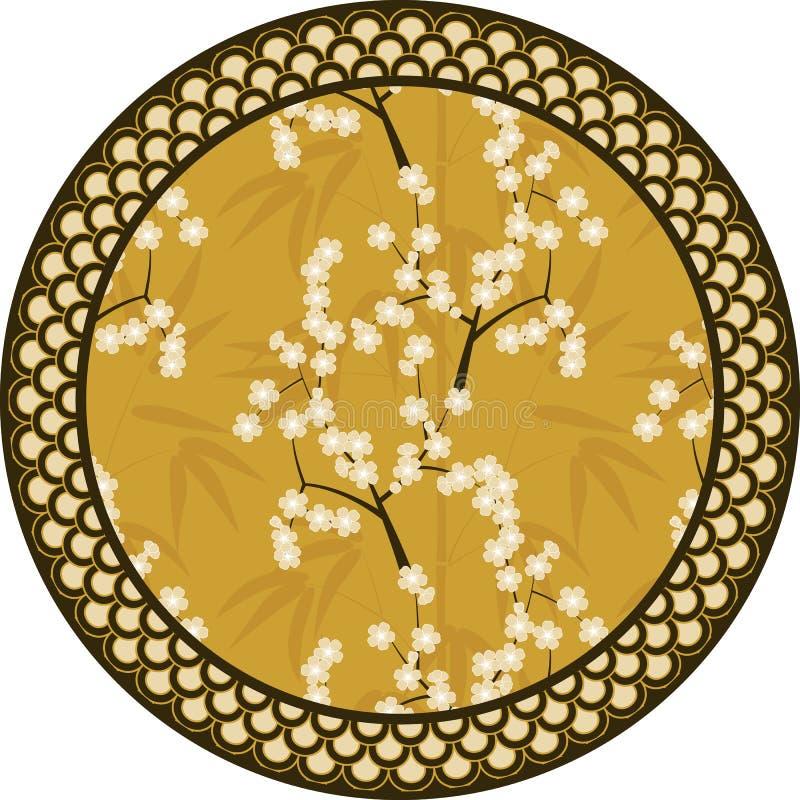 Картина японского вектора круглая с бамбуком, Сакурой и традиционной иллюстрацией орнаментов иллюстрация штока