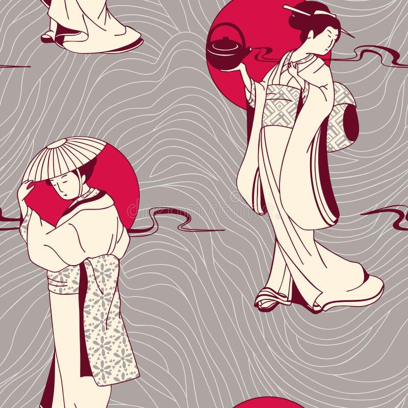 Картина японской гейши безшовная иллюстрация вектора