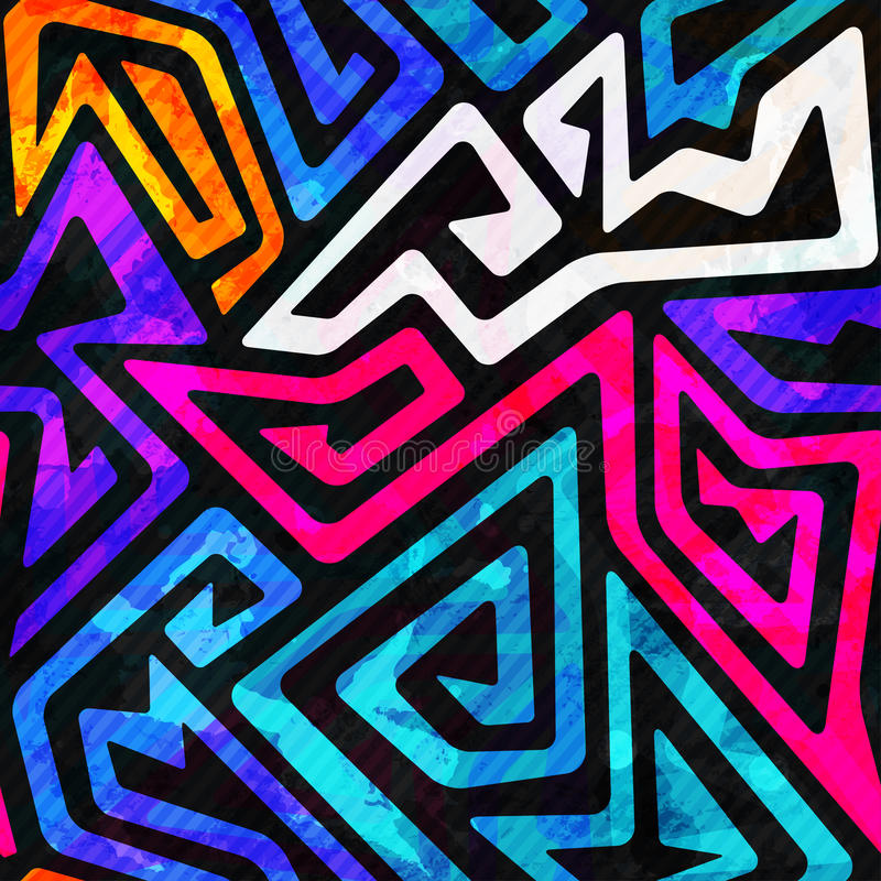 Картина яркого лабиринта безшовная с влиянием grunge иллюстрация вектора