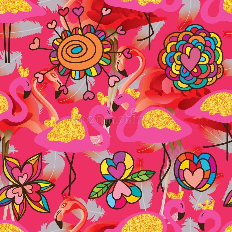 Картина яркого блеска золота влюбленности цветка фламинго безшовная бесплатная иллюстрация