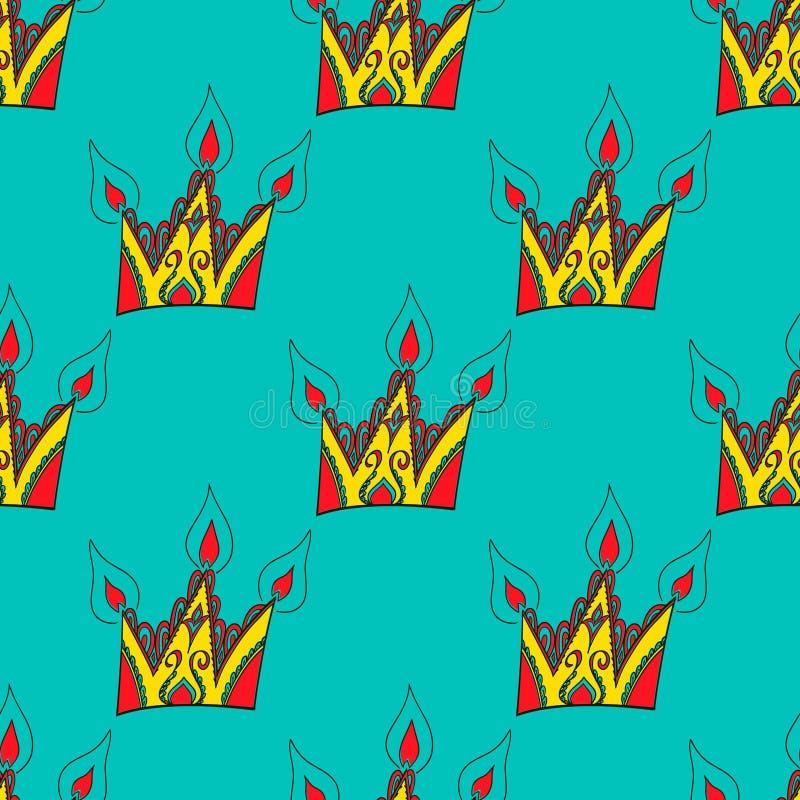 Картина яркого вектора безшовная абстрактная нарисованная вручную с кронами иллюстрация вектора