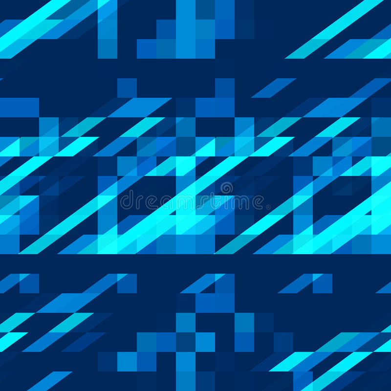 Картина яркого голубого абстрактного геометрического орнамента безшовная бесплатная иллюстрация