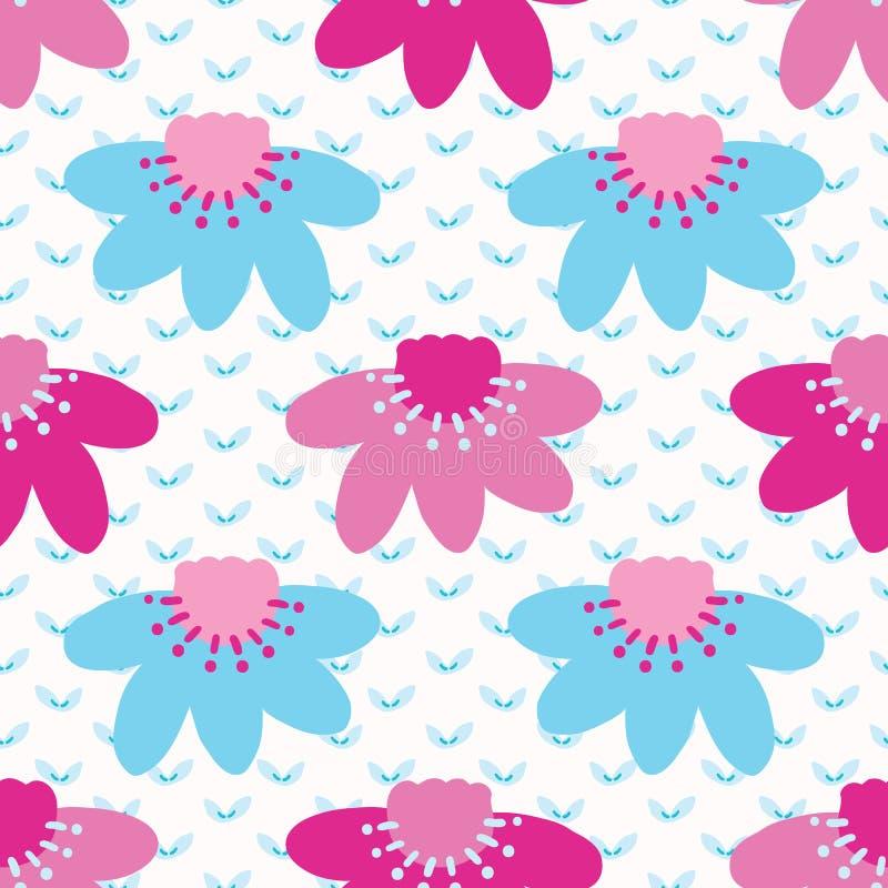 Картина яркого цветеня цветка маргаритки лета безшовная Стилизованное ретро флористическое на всем печать Мода милых 1950s голуба бесплатная иллюстрация