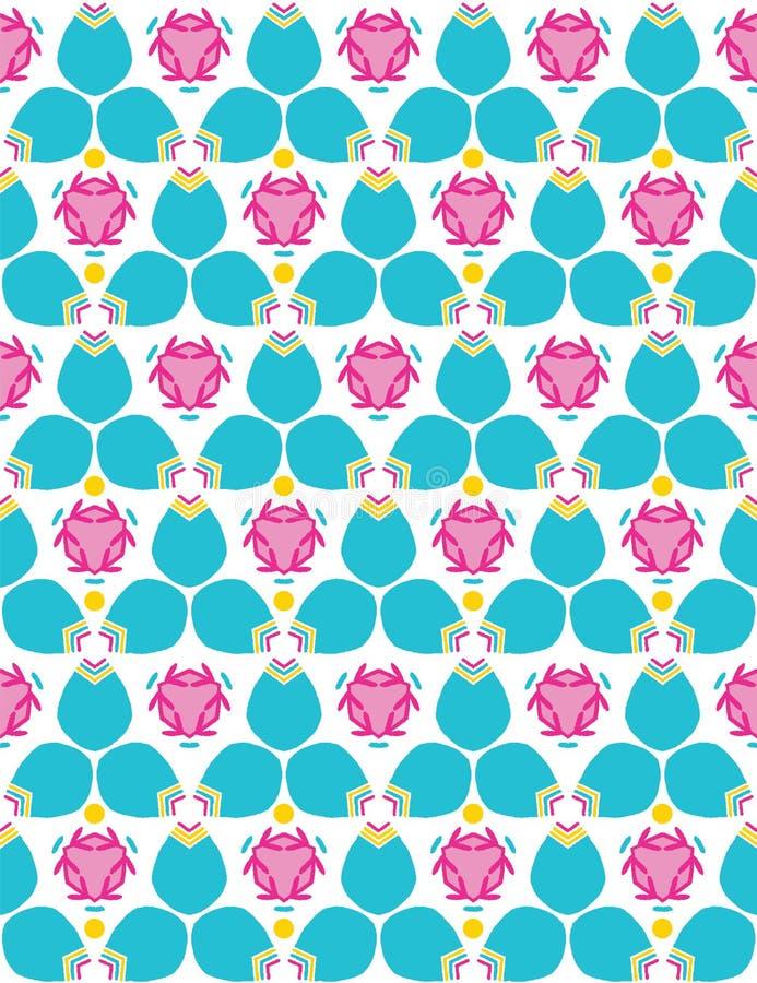 Картина яркого цветеня цветка geo лета безшовная Стилизованное геометрическое флористическое на всем печать Женственное милых 195 иллюстрация вектора