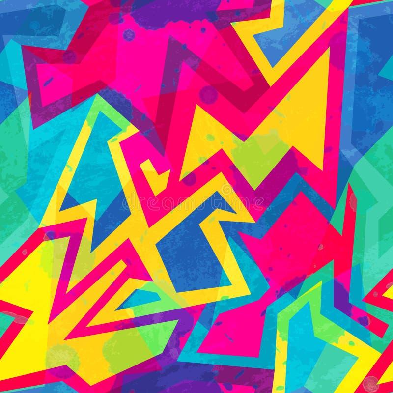 Картина яркой музыки безшовная с влиянием grunge иллюстрация вектора
