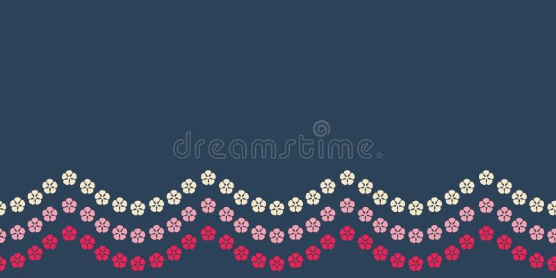 Картина яркой флористической границы гирлянды безшовная Довольно красная и розовая флористическая картина предпосылки границы Сла бесплатная иллюстрация