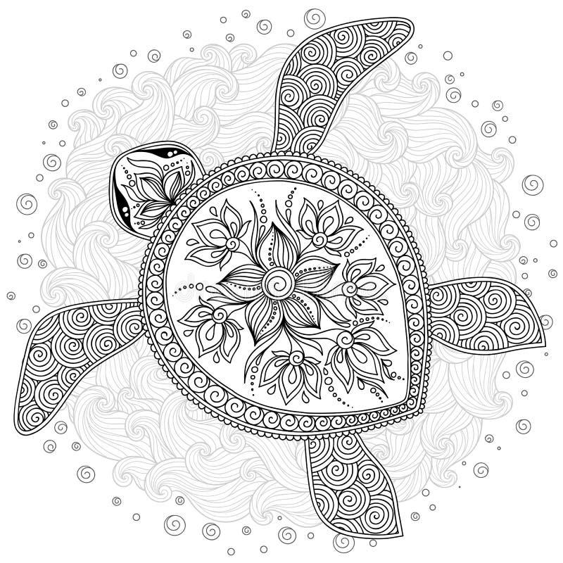 Картина для книжка-раскраски Декоративная графическая черепаха иллюстрация штока
