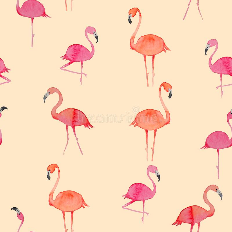 Картина Aquarelle безшовная с фламинго иллюстрация вектора