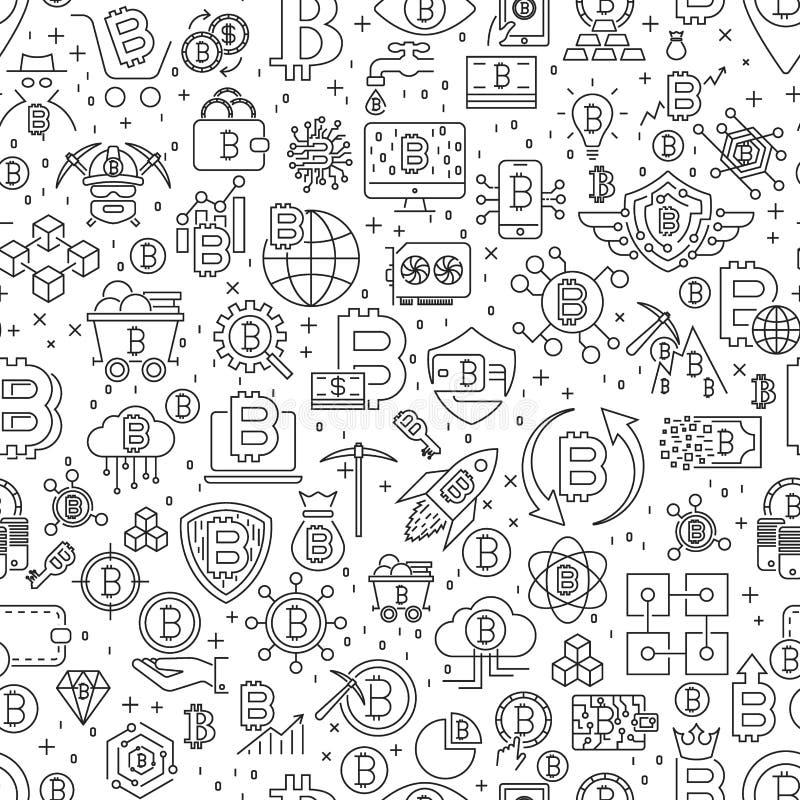 Картина Bitcoin безшовная Иллюстрация вектора предпосылки плитки плана Детали Cryptocurrency финансовые бесплатная иллюстрация