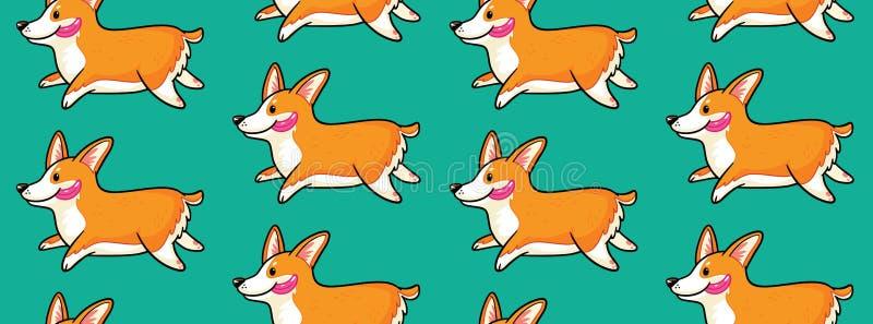 Картина Corgi безшовная Смешная предпосылка с собаками шаржа бесплатная иллюстрация