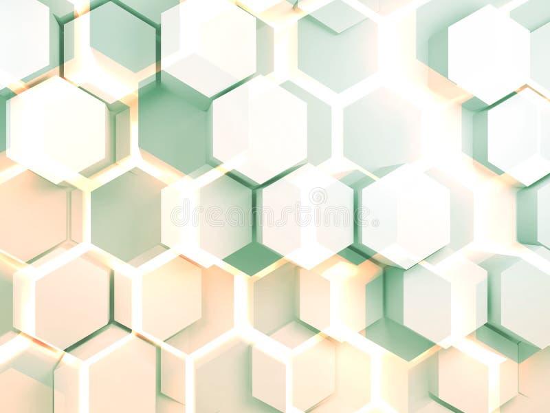 Картина 3d конспекта красочная цифровая шестиугольная стоковое фото rf