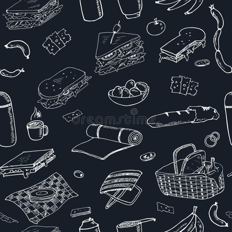 Картина doodle пикника лета безшовная Различные еды, пить, объекты, деятельности при спорта иллюстрация вектора