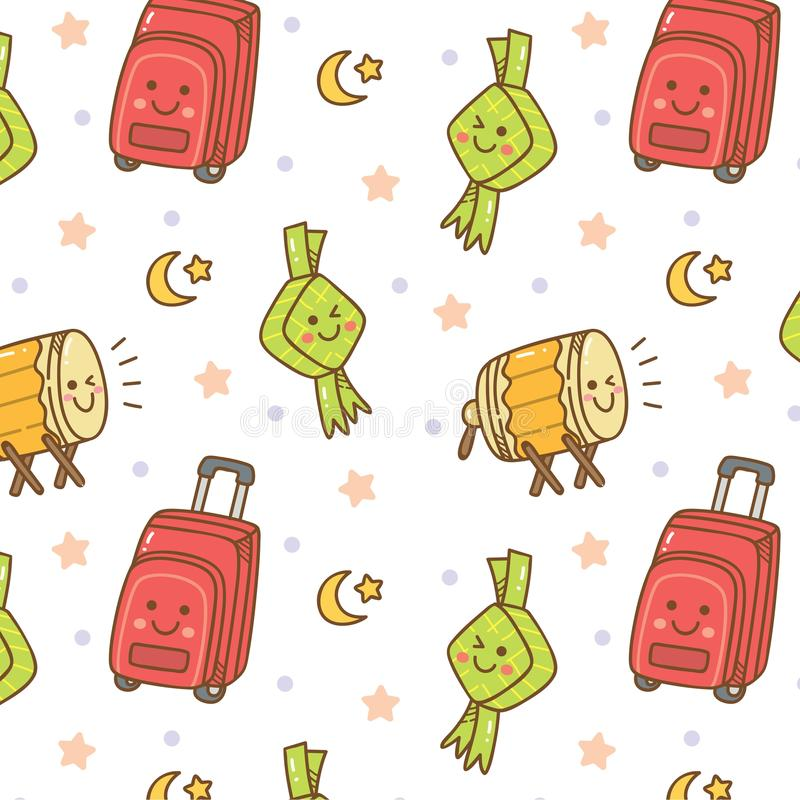 """Картина doodle Рамазан безшовная с """"kareem ramadan """"написанным в арабском иллюстрация вектора"""