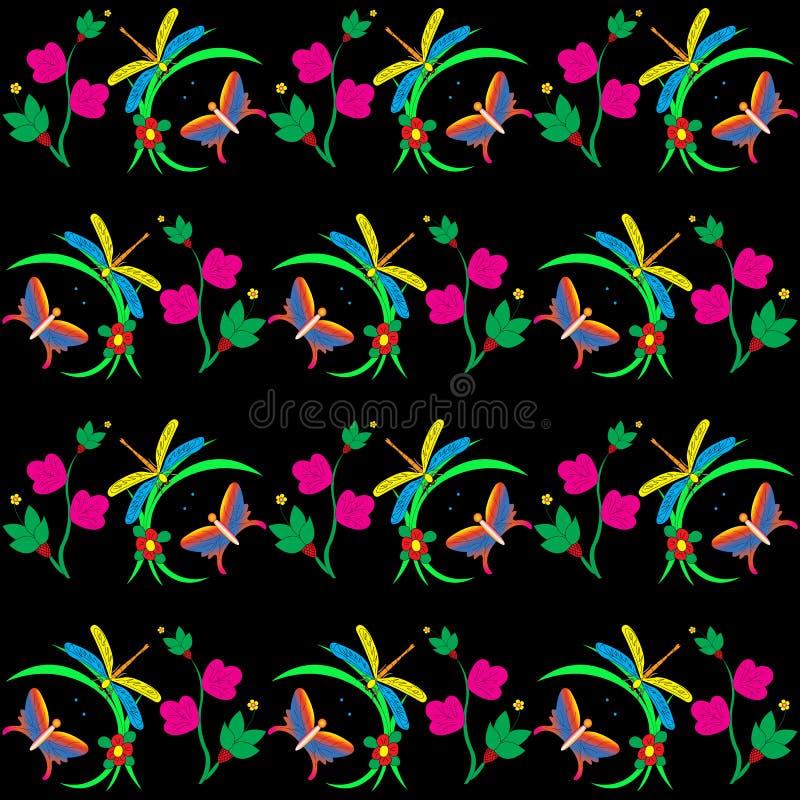 Картина Dragonfly и бабочки стоковая фотография rf