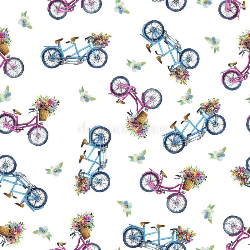 Картина Eamless с велосипедами и цветками стоковые фотографии rf