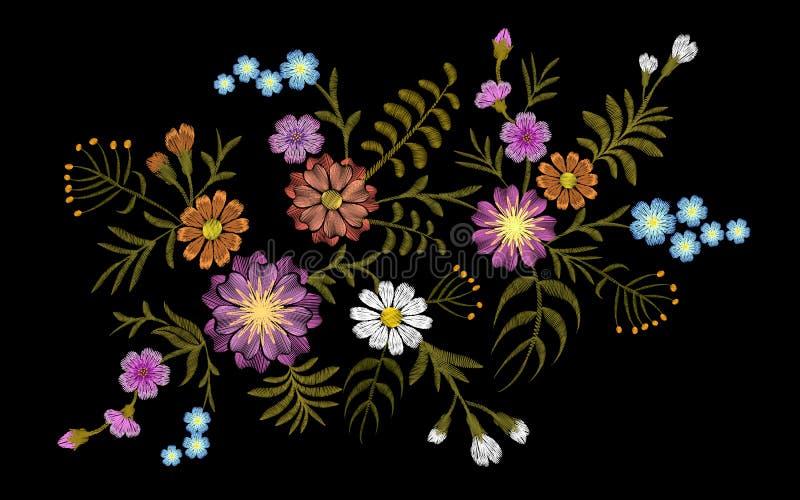 Картина flovers на черной предпосылке Имитационная вышивка иллюстрация штока