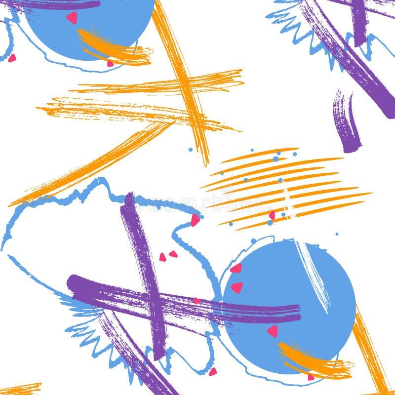 Картина grunge красочного оранжевого фиолета голубая Грязный ход щетки брызгает Творческая акриловая текстура чернил Формы краски иллюстрация вектора
