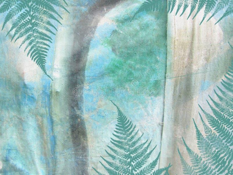 Картина grunge тропических джунглей флористическая абстрактная текстурированная предпосылка иллюстрация вектора