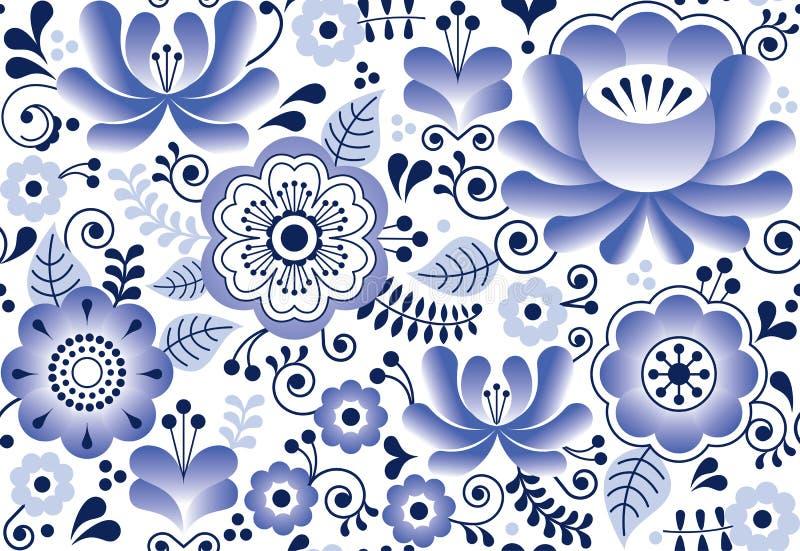 Картина Gzhel безшовная, русский дизайн народного искусства, ретро стиль керамики иллюстрация штока