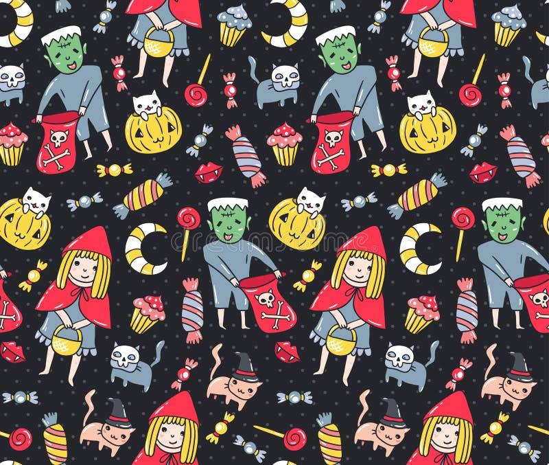 картина halloween безшовная Дети и коты в костюмах с помадками на предпосылке точки польки также вектор иллюстрации притяжки core иллюстрация штока