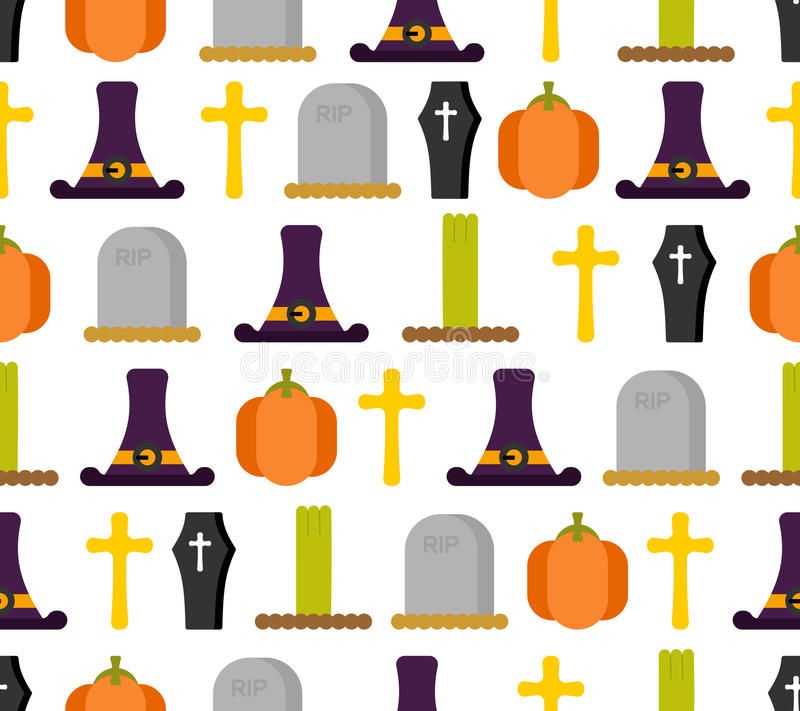 картина halloween безшовная Предпосылка на ужасный праздник шлем бесплатная иллюстрация