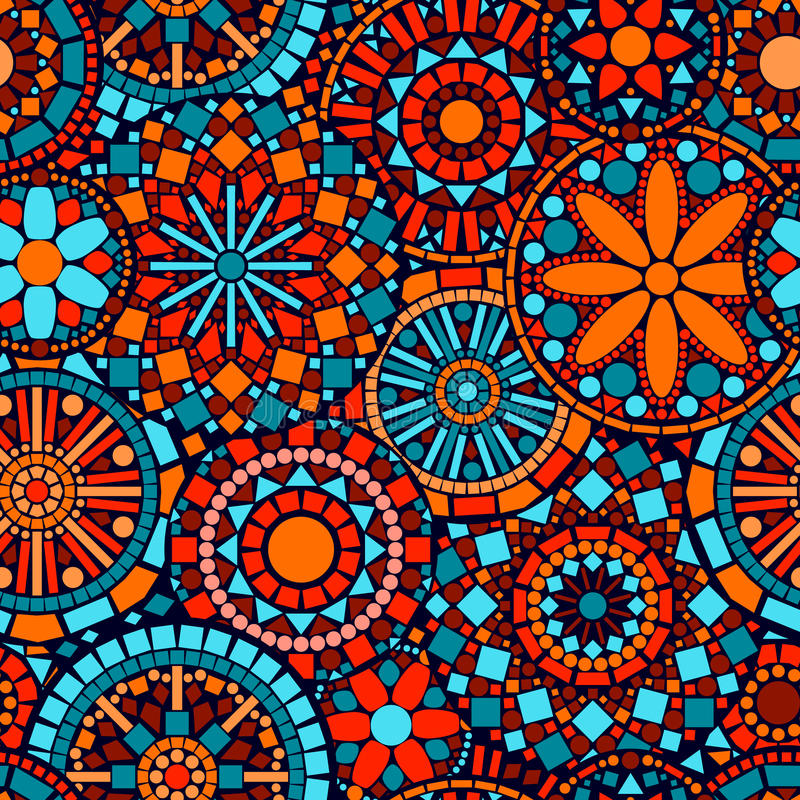 Картина i красочных мандал цветка круга безшовная иллюстрация штока