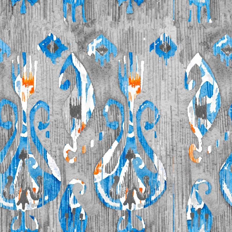 Картина ikat акварели безшовная Декоративное флористическое в стиле watercolour Богемское этническое бесплатная иллюстрация