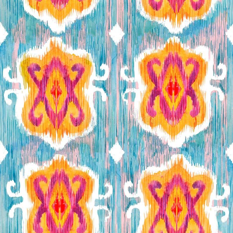 Картина Ikat безшовная богемская этническая в стиле watercolour Орнаменты oriental акварели иллюстрация вектора