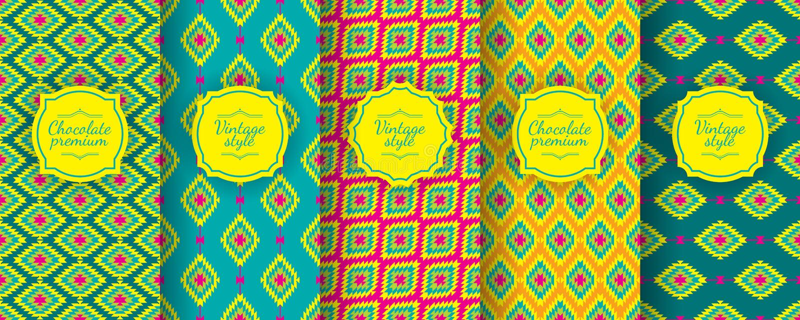 Картина Ikat безшовная Установите традиционных узбекских предпосылок иллюстрация штока